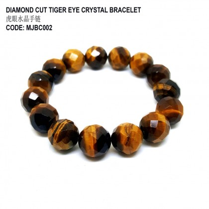 DIAMOND CUT TIGER EYE CRYSTAL BRACELET (虎眼水晶手链)